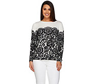 Bob Mackies Long Sleeve Printed Lace Pullover Sweater - A239162