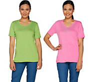 Quacker Factory Set of Two Rhinestone Short Sleeve T-shirts - A254162