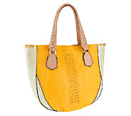 As Is orYANY Lyssie Soft Pebbled Leather Color-Block Tote - A258462