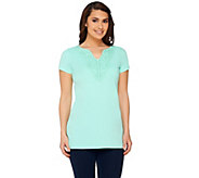 Liz Claiborne New York Lace Trim Split Neck Tee - A262962