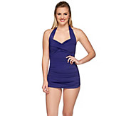 DreamShaper by Miraclesuit Caitlin Ruched Halter Swimsuit - A273962
