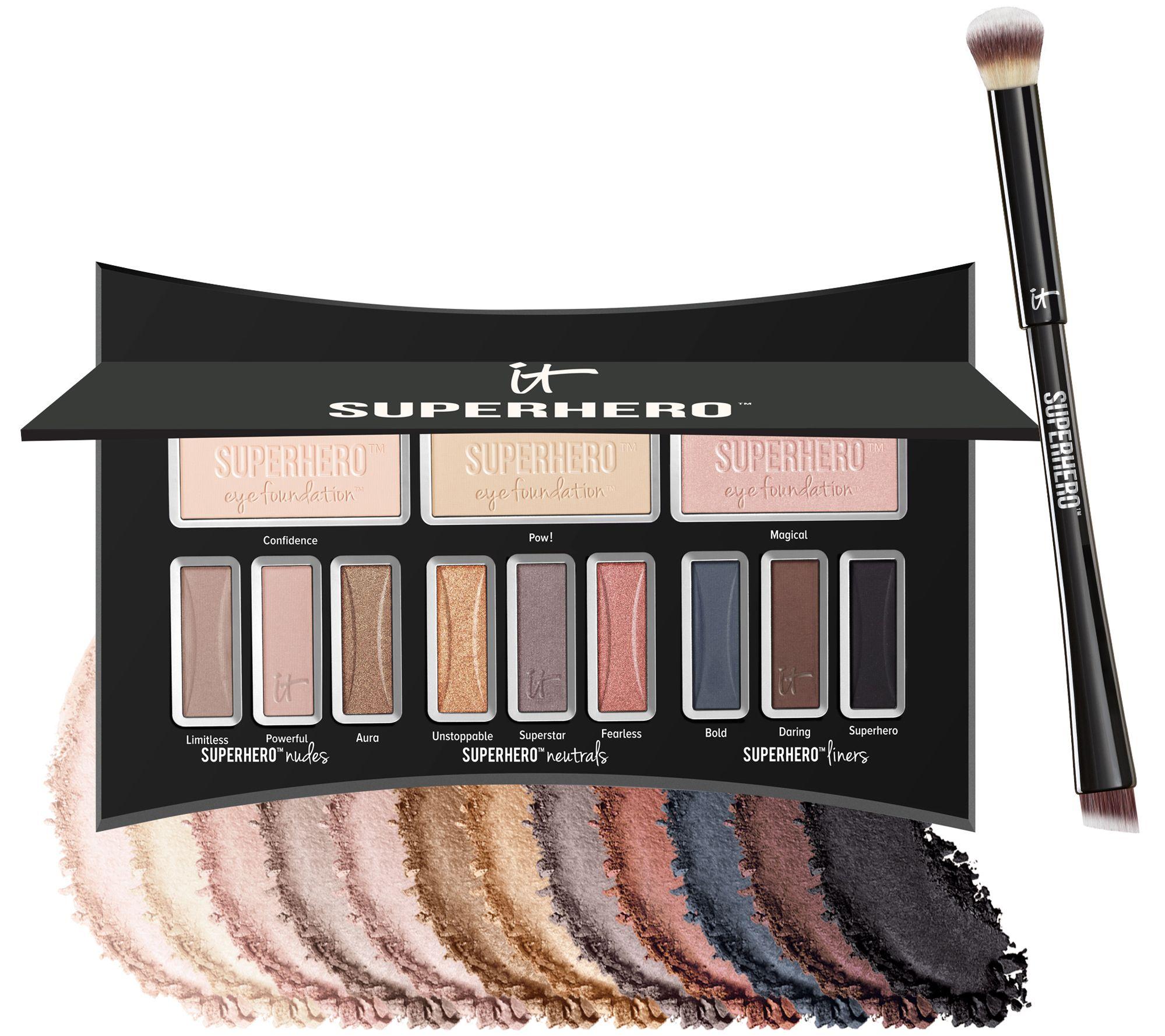 It Cosmetics Superhero Luxe Anti Aging Eyeshadow Palette W Brush