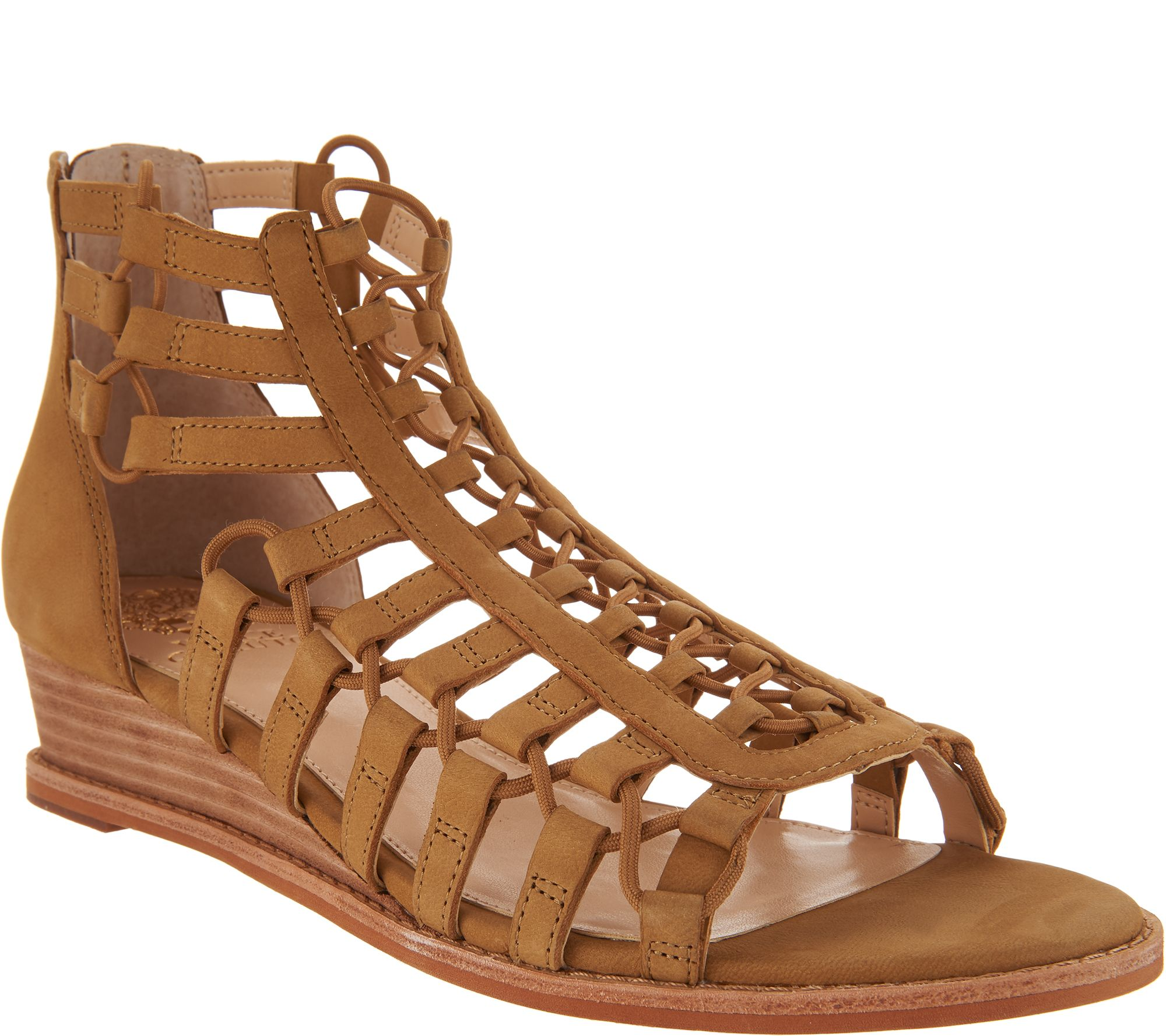 32eb8d227dfe Vince Camuto Leather Gladiator Wedge Sandals - Richetta - Page 1 — QVC.com