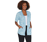 Isaac Mizrahi Live! SOHO Elbow Sleeve Space Dye Cardigan - A308062