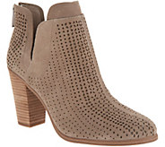 Vince Camuto Perforated Suede Stacked Heel Booties - Farrier - A310562