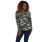 Quacker Factory Embellished Heathered Camo Long Sleeve Knit Top - A341762