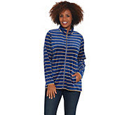 Quacker Factory Striped Lurex Knit Velvet Zip Front Jacket - A343662