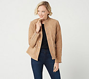 Isaac Mizrahi Live! Suede Utility Jacket with Printed Lining - A349962