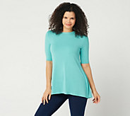 H by Halston Essentials Crew -Neck Elbow- Sleeve Tunic with Hi-Low Hem - A350262