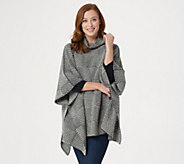 Fisherman Out of Ireland Merino Wool Checkered Poncho - A351062