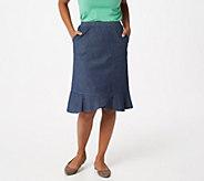 Denim & Co. Lightweight Denim Flare Bottom Skirt - A351562