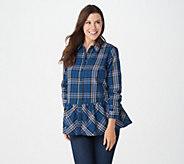 Joan Rivers Plaid Shirt with Gathered Ruffle Hem - A366262