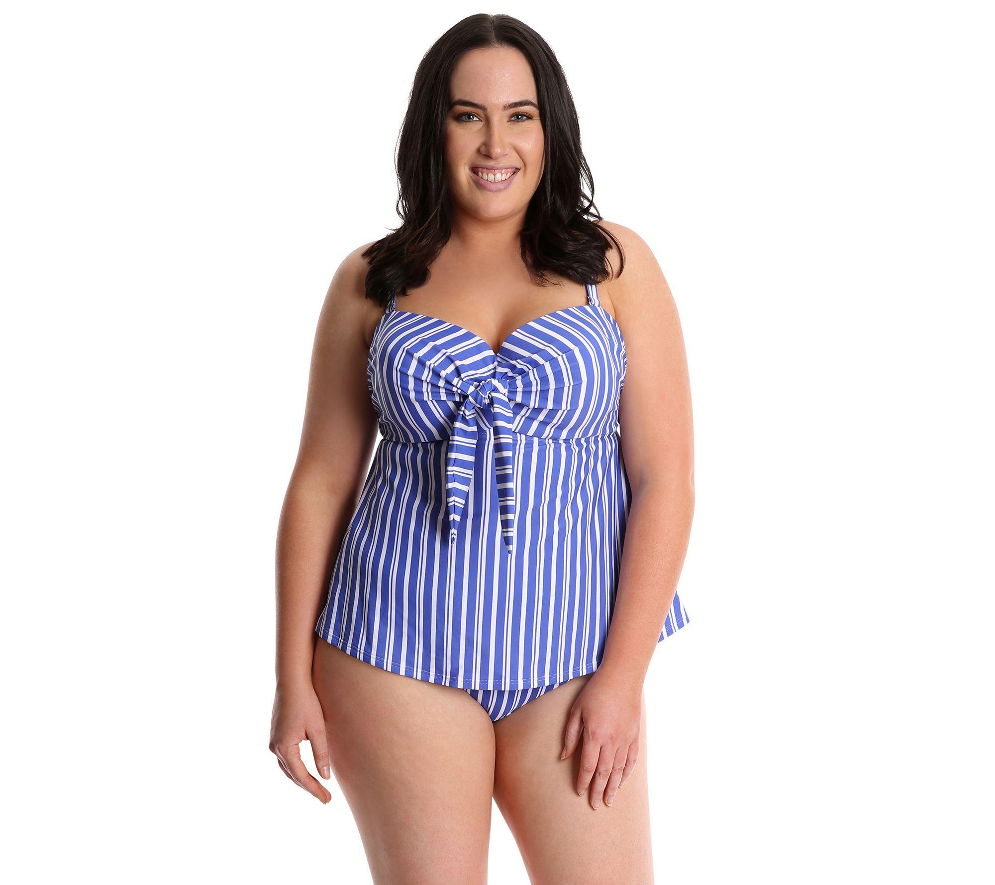 db4feeac63 LYSA Striped Tankini Swim Top Plus Size - Jen — QVC.com
