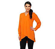 Susan Graver Stretch Woven Tunic with Crossover Hem - A261263