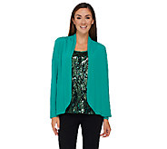 Bob Mackies Sequin Front Tank and Solid Knit Cardigan Set - A269563