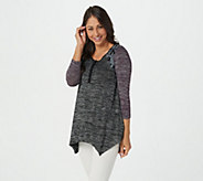 LOGO by Lori Goldstein Space Dye Color-Blocked Top with Lace - A273363