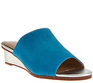 Judith Ripka Leather Wedge Slide Sandals - Jaimie - A276363
