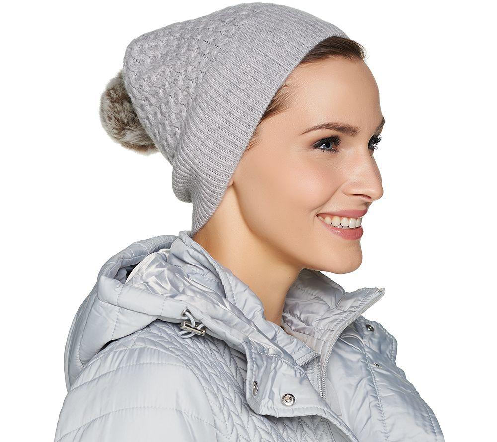 50534215906eb6 Isaac Mizrahi Live! 2-Ply Cashmere Hat with Faux Fur Pom Pom - Page 1 —  QVC.com