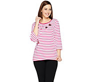 Quacker Factory Whimsical Hearts Striped 3/4 Sleeve T-shirt - A287063