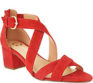 C. Wonder Suede Cross Band Sandals with Block Heel - A288563