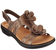 Clarks Leather Lightweight Sandals with Flower Detail - Leisa Claytin - A290063