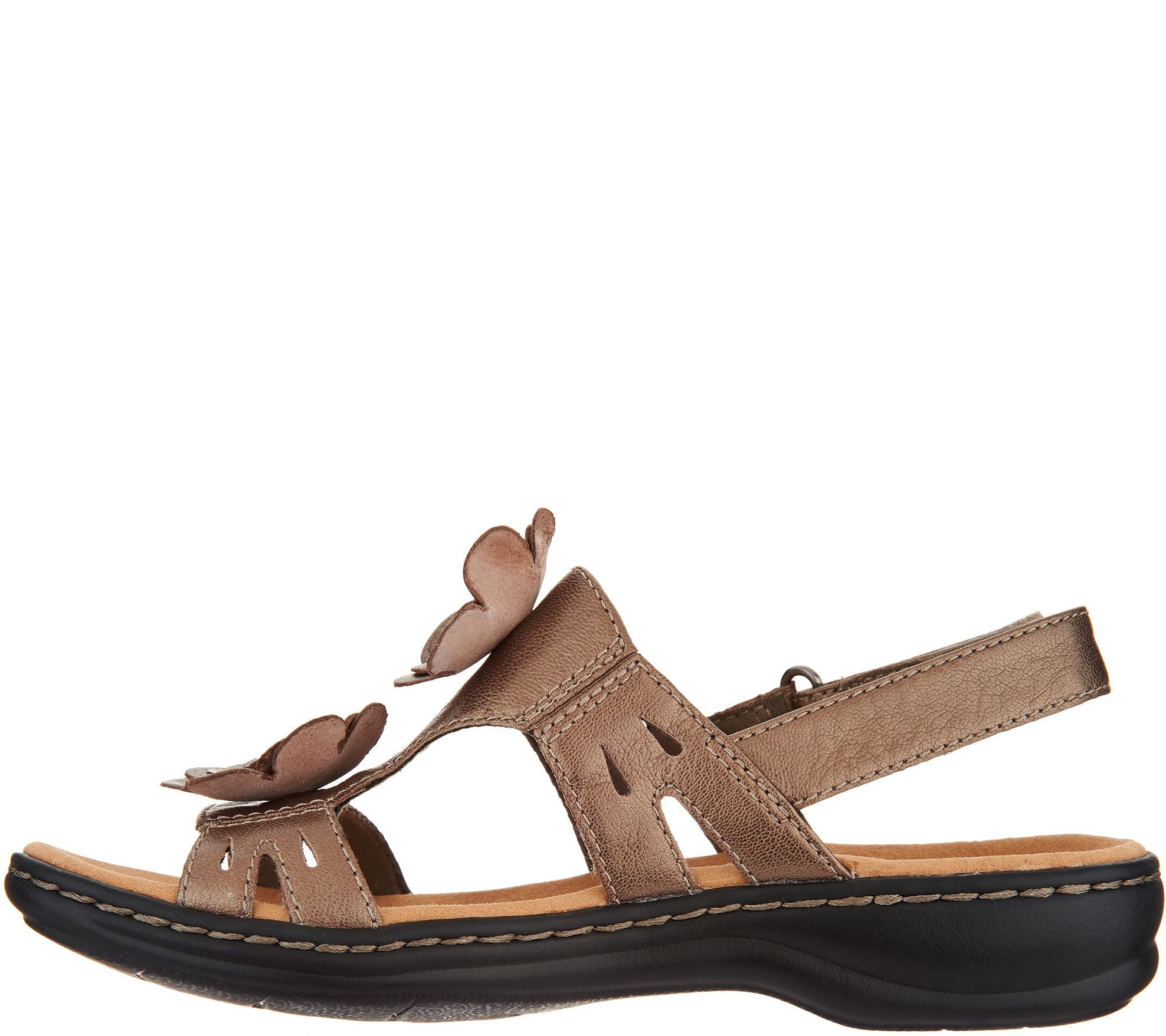 10b43c987a4d Clarks Leather Lightweight Sandals with Flower Detail - Leisa Claytin -  Page 1 — QVC.com
