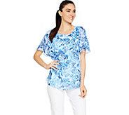 Isaac Mizrahi Live! Floral Print Flounce Sleeve Woven Blouse - A290863