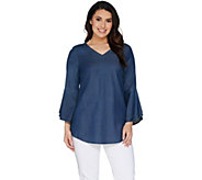 Belle by Kim Gravel Stretch Lyocell Bell Sleeve V-Neck Top - A301563