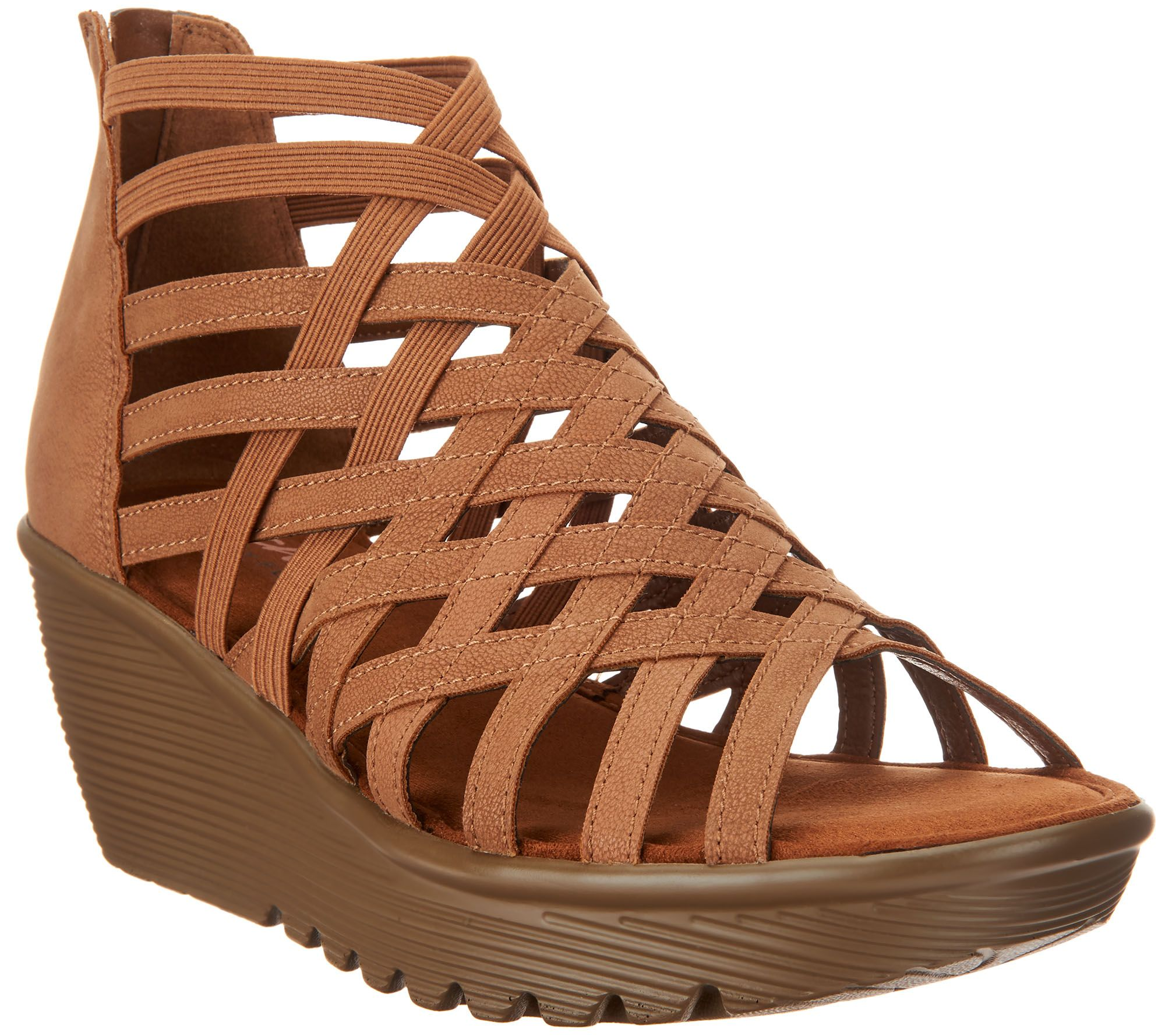 d75fd4e11b8f21 Skechers Peep-Toe Caged Wedges - Dream Queen - Page 1 — QVC.com