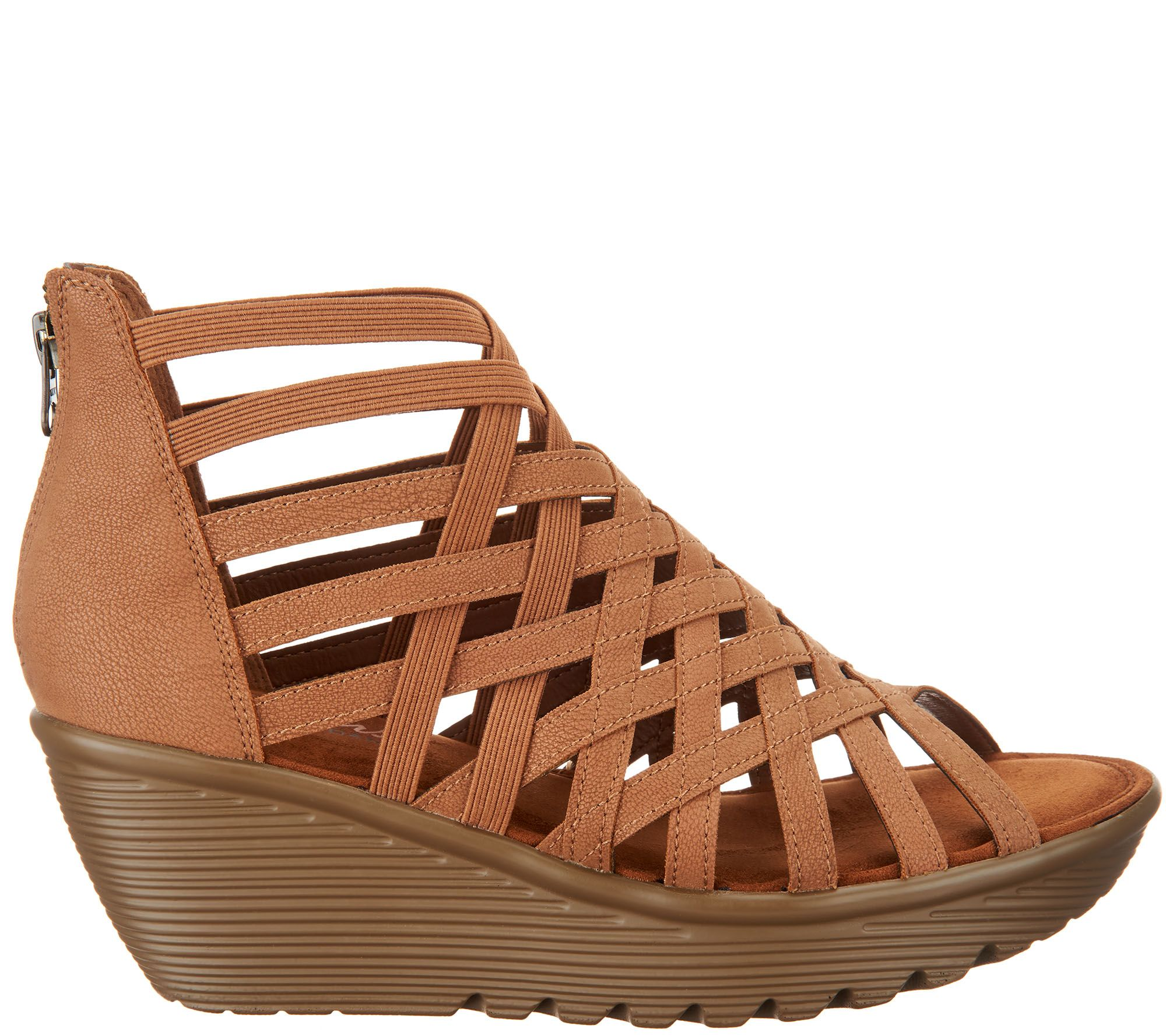 6434143448 Skechers Peep-Toe Caged Wedges - Dream Queen - Page 1 — QVC.com