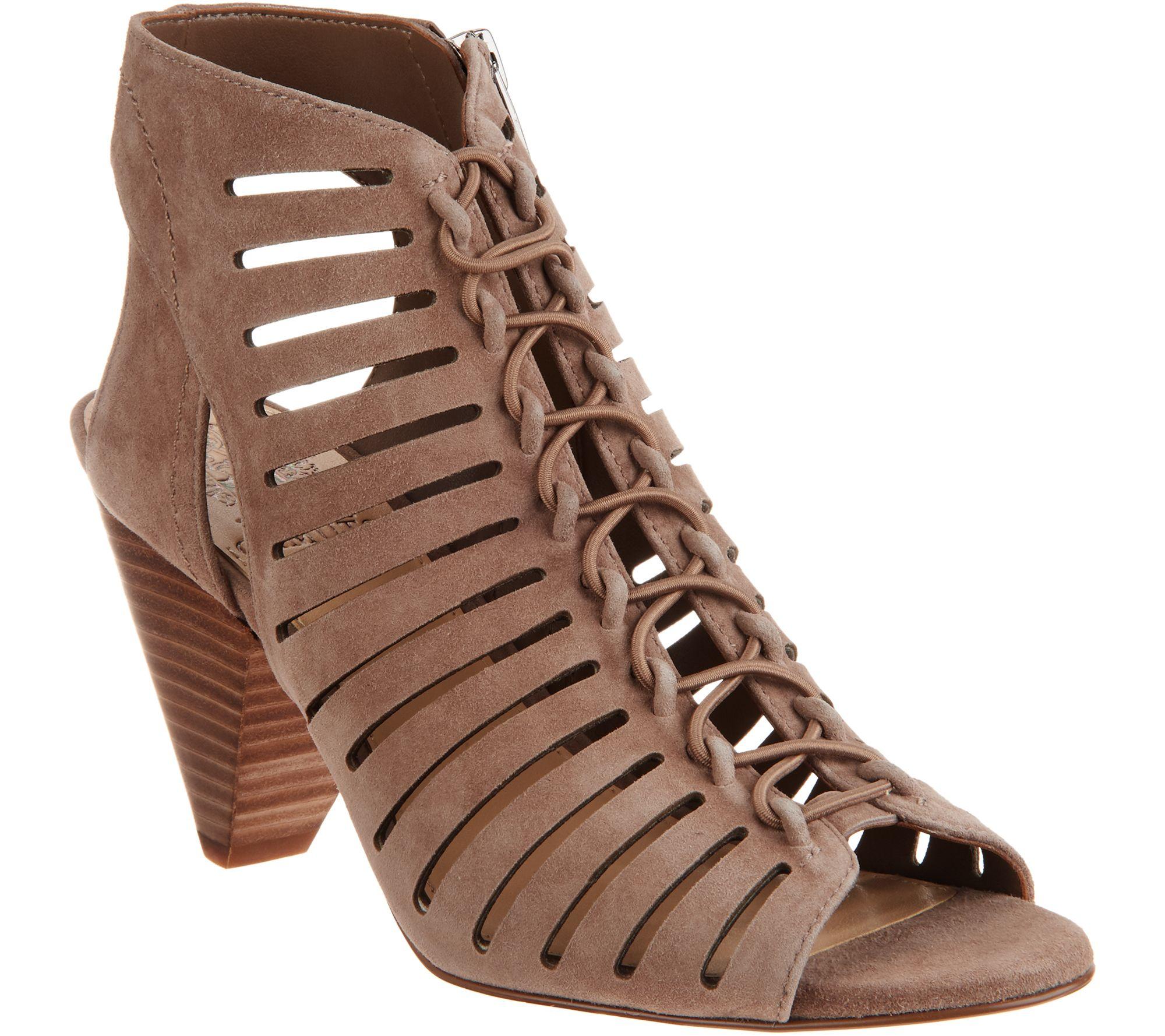 665b790943a1 Vince Camuto Nubuck Leather Peep Toe Sandals - Evalan - Page 1 — QVC.com