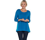 H by Halston 3/4 Sleeve Knit Tunic with Woven Back Shirring Detail - A343463