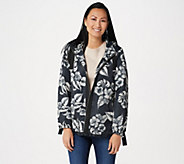 Dennis Basso Printed Water Resistant Hooded Jacket with Trim - A346663