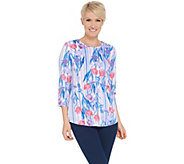 Denim & Co. Printed Heavenly Jersey Hi-Low Hem Top - A349963