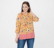 Denim & Co. Floral & Dot Print Stretch Crepe Blouse - A351563