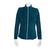 Susan Graver Velour Zip Front Jacket with Welt Pockets - A228764