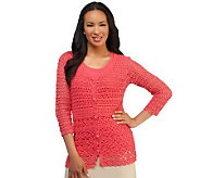 Liz Claiborne New York Hand Crochet V-neck Cardigan with Tank - A232264