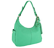 Isaac Mizrahi Live! Bridgehampton Pebble Leather Zip Top Hobo - A241064