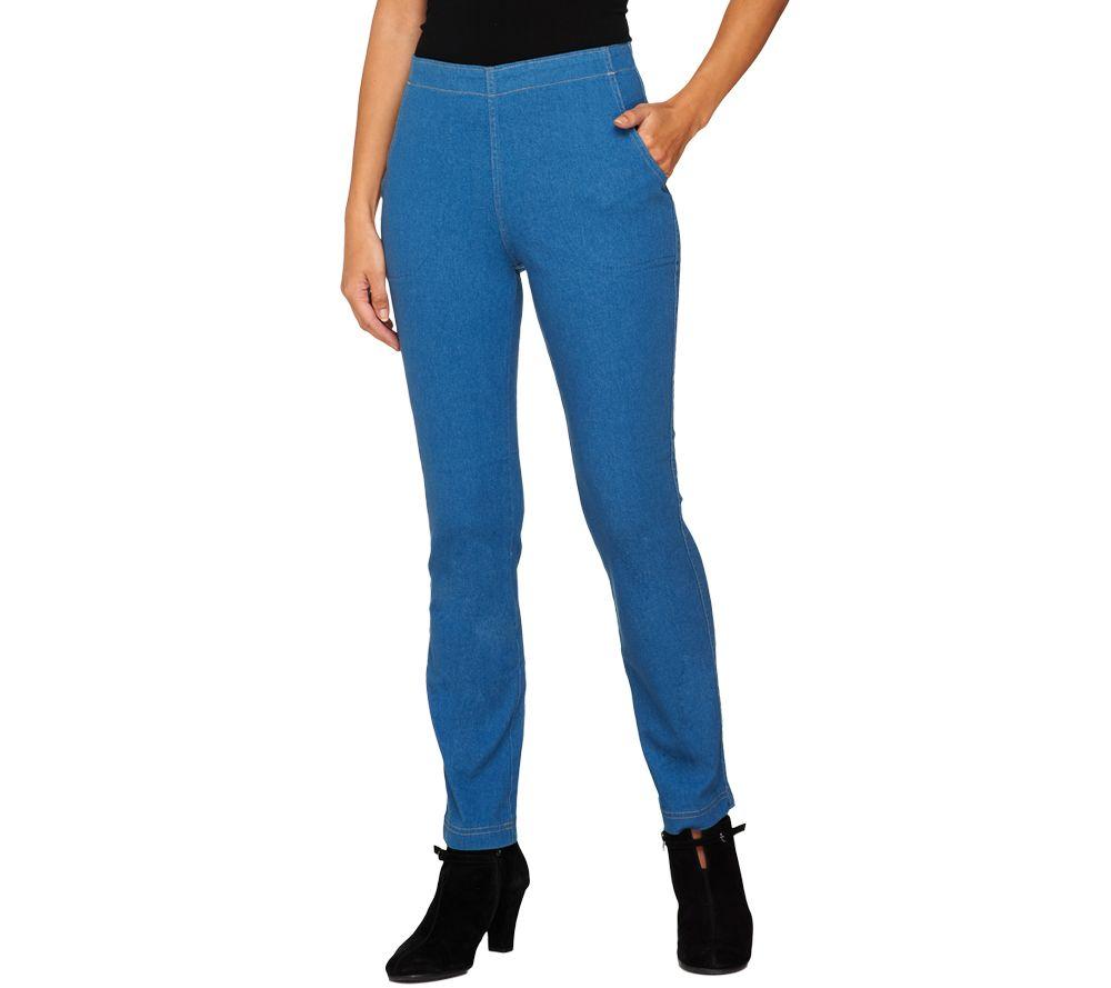 d7a76290a99 Denim   Co. Regular Slim Straight Leg Pull-On Jeans - Page 1 — QVC.com