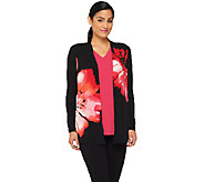 Susan Graver Liquid Knit Printed Cardigan & Tank Set - A261264