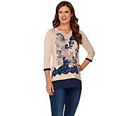 LOGO by Lori Goldstein Knit Top with Embroidery and Lace Front - A269664
