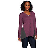LOGO by Lori Goldstein Cotton Cashmere Cardigan with Chiffon Godets - A269964