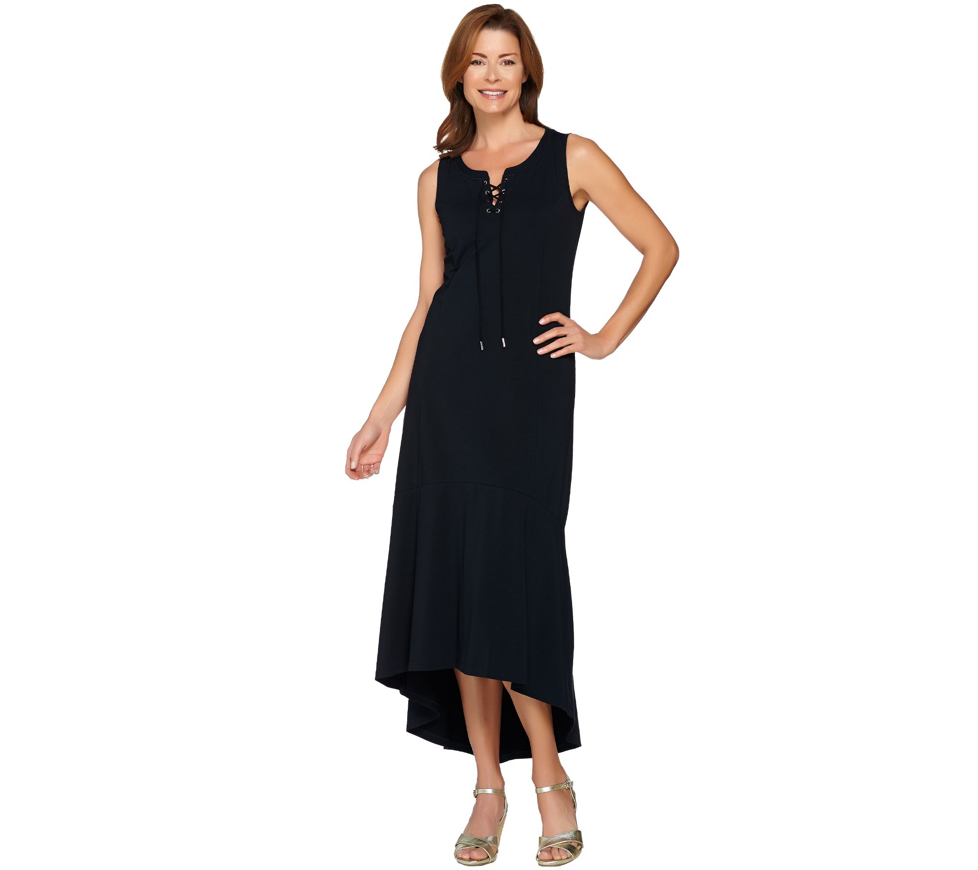 Isaac Mizrahi Lace-Up Neck Hi-low Hem Maxi Dress Black XL NEW A288664