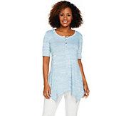LOGO by Lori Goldstein Space Dye Sweater Knit Henley Top - A288864