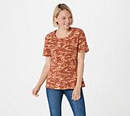 Denim & Co. Active Camo Print Short Sleeve Scoop Neck Top - A292464