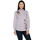 Susan Graver Striped Cotton Poplin Embroidered Shirt - A294864