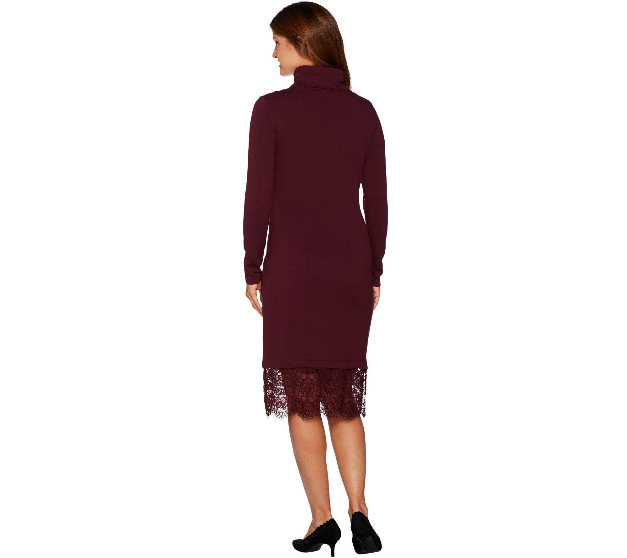 4a1a50b018f Isaac Mizrahi Live! Turtleneck Sweater Dress with Lace Hem - Page 1 — QVC .com