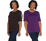 Quacker Factory Set of Two Knit T-Shirts w Faux Pearl Detail - A309664