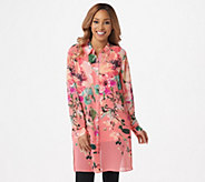 Dennis Basso Printed Chiffon Button-Front Duster and Tank - A346664