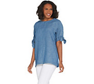 As Is Martha Stewart Elbow- Sleeve Woven Blouse with Tie Detail - A347564